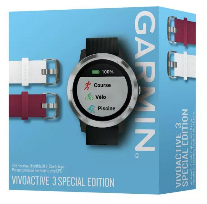 Montre connectée Garmin vivoactive 3 Édition Noël - avec 3 bracelets en silicone supplémentaires