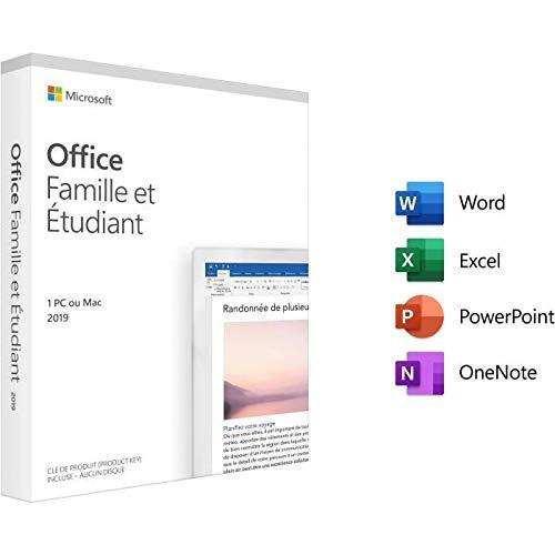Logiciel Microsoft Office Famille et Etudiant 2019 - 1 PC ou Mac