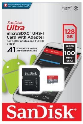 Carte mémoire SanDisk Ultra - 128Go + Adaptateur (Vendeur tiers)
