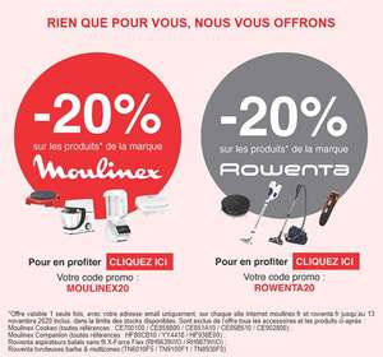 20% de réduction sur les sites Moulinex & Rowenta (hors exceptions)