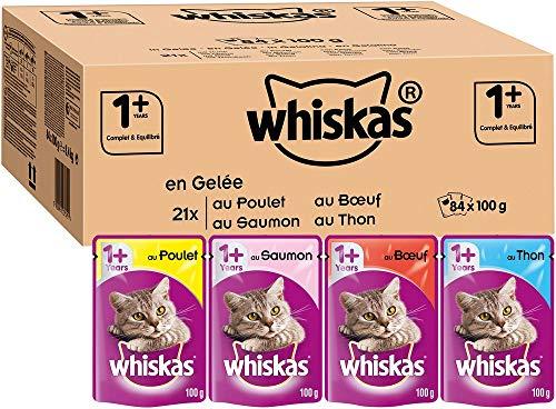 Lot de 84 sachets d'aliments en gelée pour chat Whiskas - différents goûts, 84x100 g