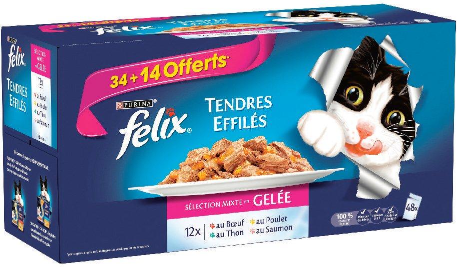 Boite de 48 Sachets Felix Tendres Effilés pour chat - Poitiers (86)