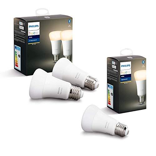 3 Ampoules LED connectées Philips Hue White E27 - Compatible Bluetooth, Alexa