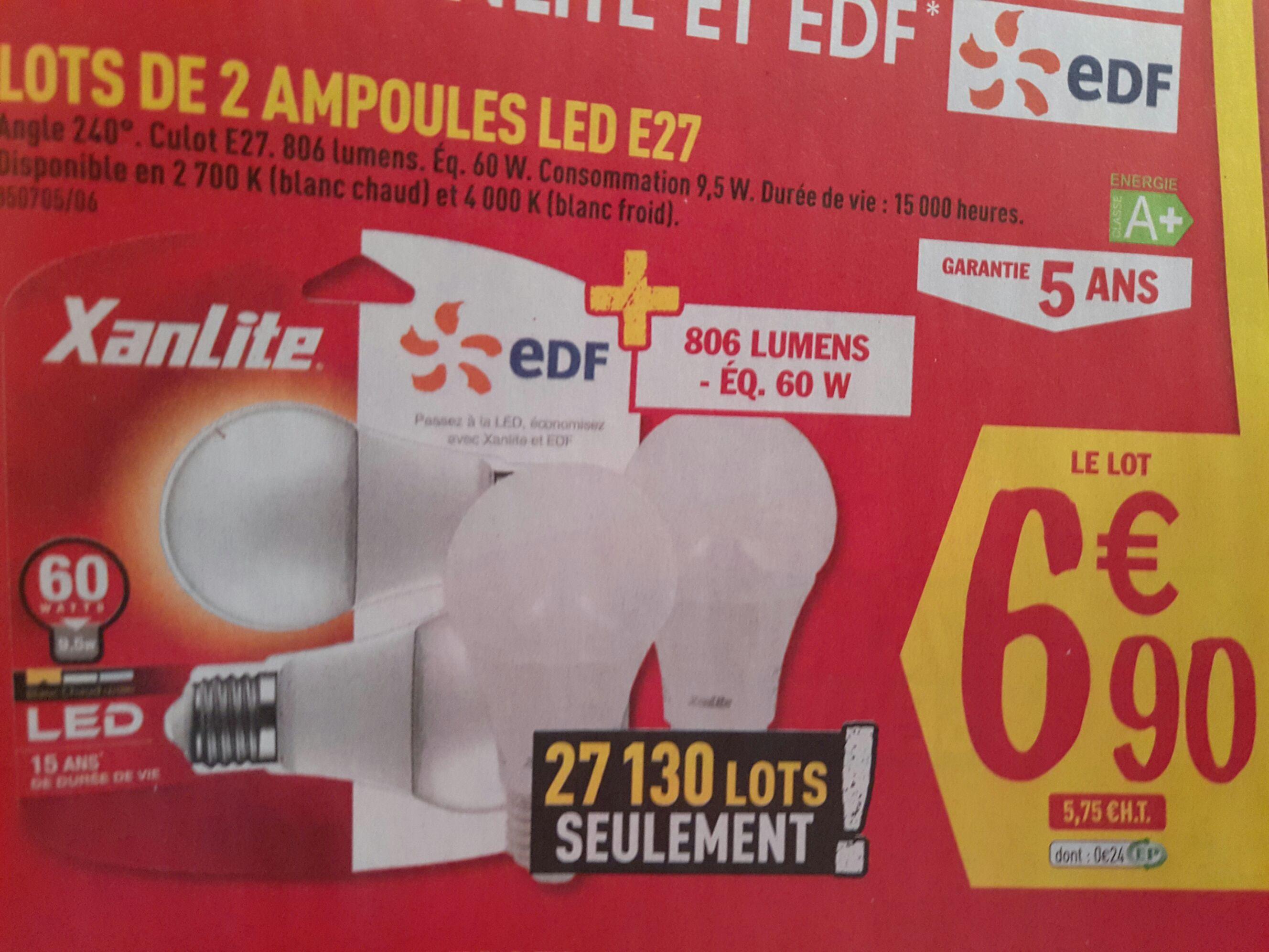2 Ampoules LED E27 Xanlite - 60W