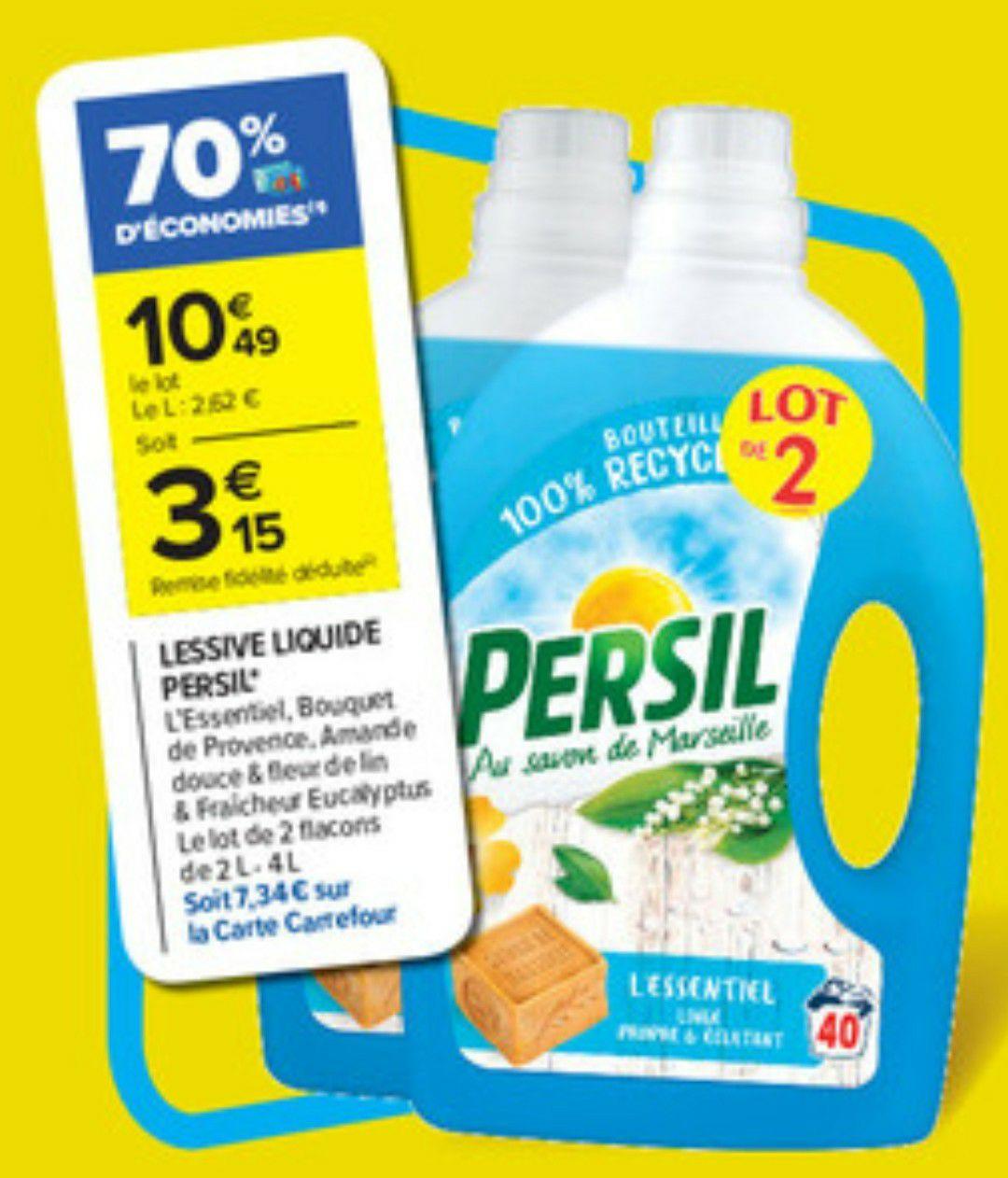 Lot de 2 bidons de lessive liquide Persil - différents parfums (via 7.34€ sur la carte fidélité)