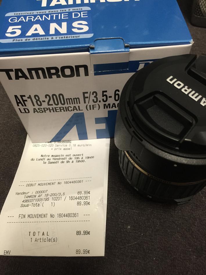 Objectif Tamron 18-200 F/3.5-6.3 Monture Nikon