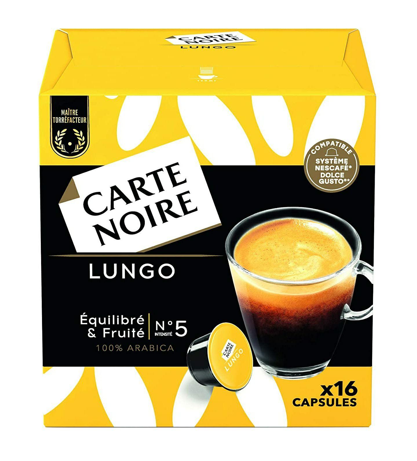 Sélection de cafés en promotion - Ex : Lot de 96 Capsules de Café Carte Noire Lungo compatibles Dolce Gusto