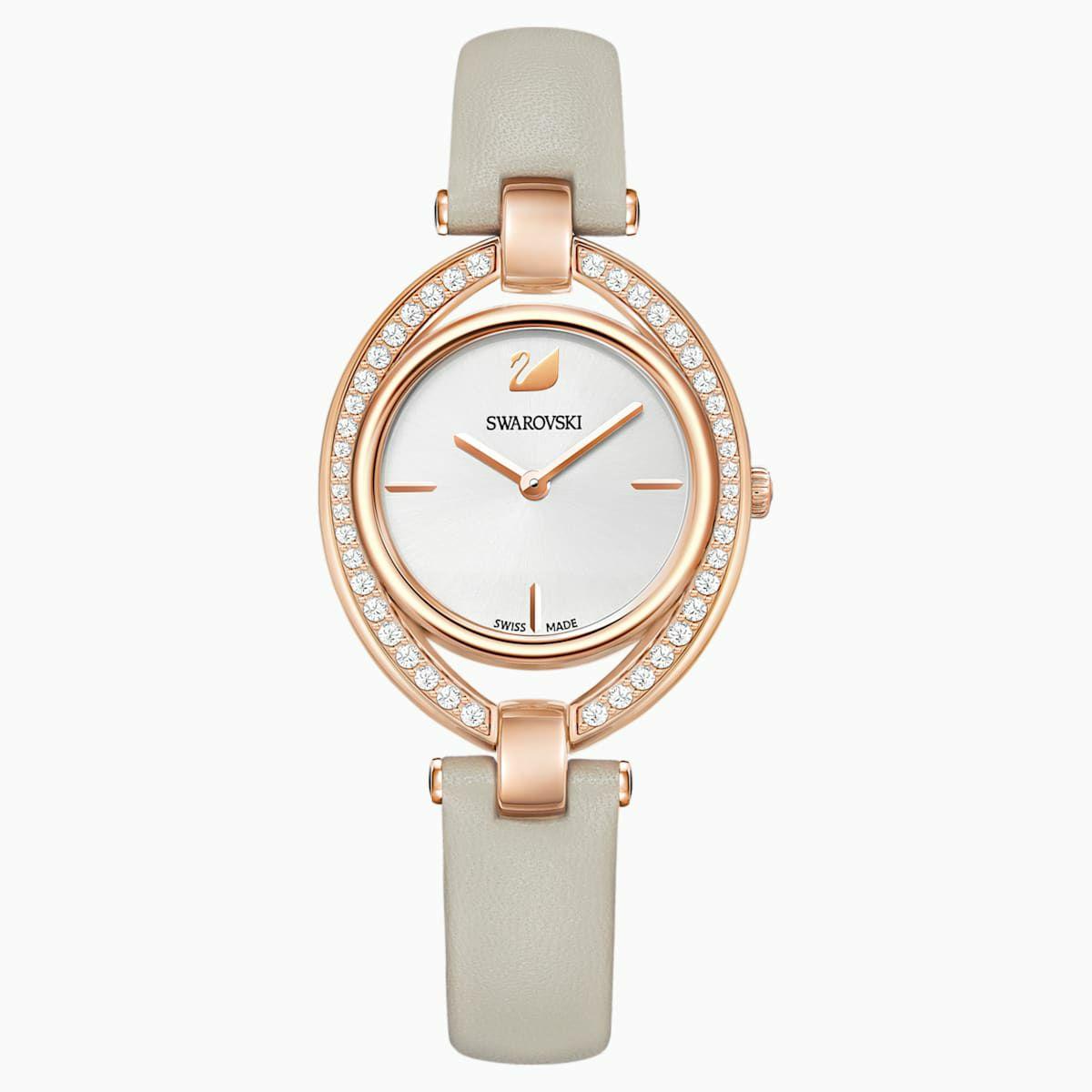 Montre Swarovski Stella pour Femme - Bracelet en cuir, gris, pvd dorée rose