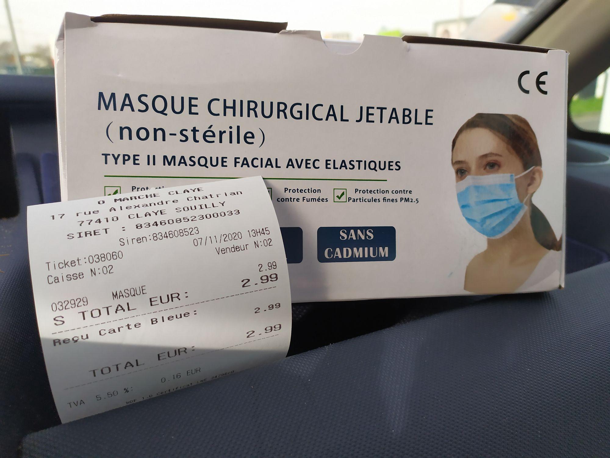 Boite de 50 Masques de protection (Non médicaux) - O'Marche Claye Souilly (77)
