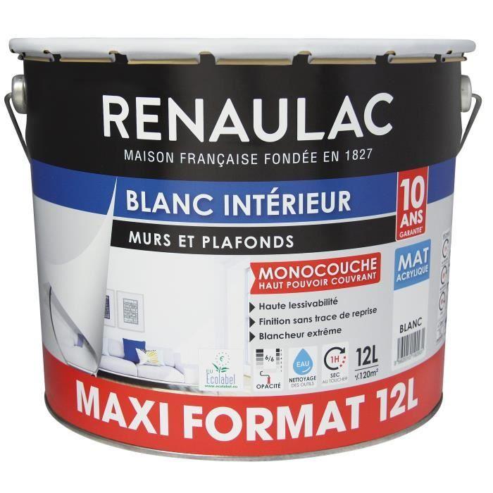 Pot de peinture monocouche Renaulac - 12L, Blanc Mat