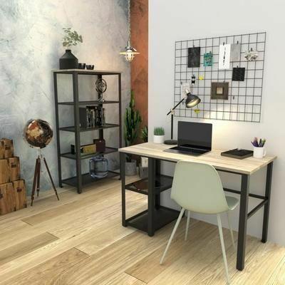 Ensemble bureau en métal + Bibliothèque de 5 étagères de rangement York