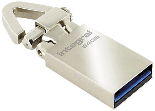 Clé USB 3.0 Integral Europe avec mousqueton - 64 Go