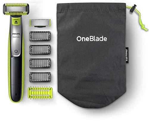 Tondeuse Philips QP2630/30 OneBlade Visage/Corps + Protection Zones Sensibles avec 2 Lames, 4 sabots Barbe + sabot corps