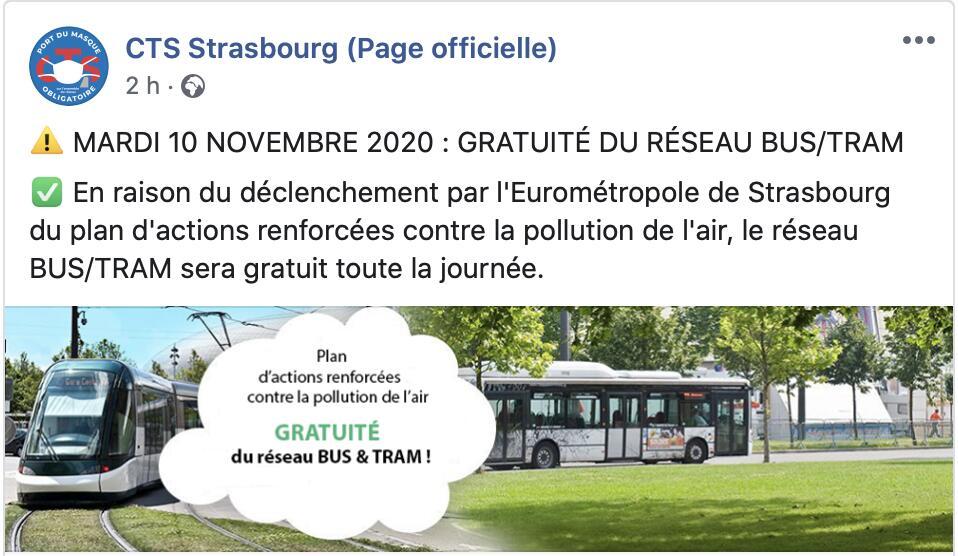 Réseau de transport en commun bus & tram CTS gratuit - Strasbourg (67)