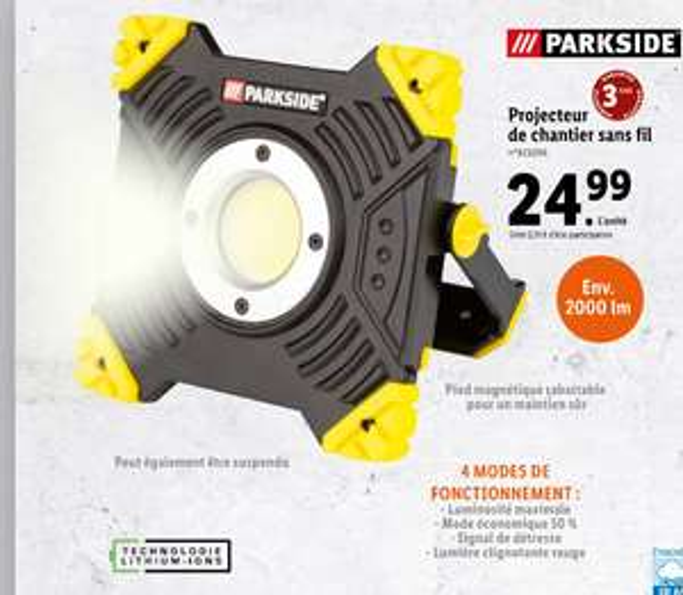 Projecteur de chantier sans-fil Parkside - 2000lm