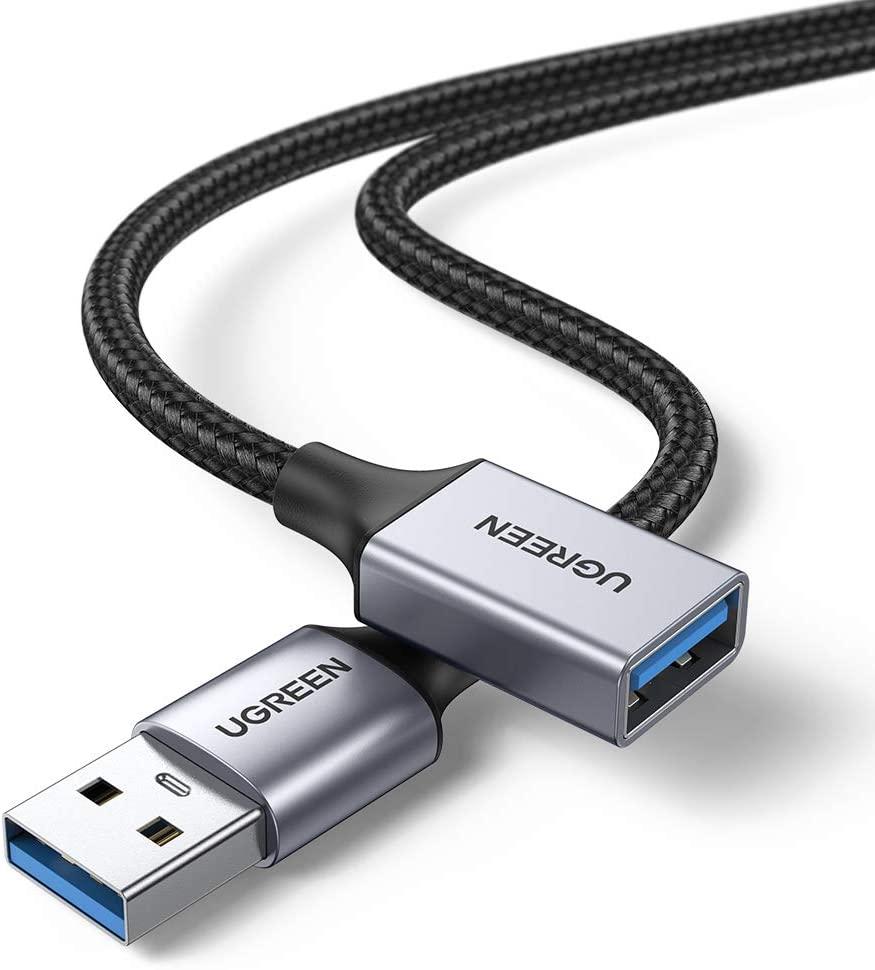 Câble Rallonge USB 3.0 Ugreen - 5 Gbps, Nylon tressé, 2 mètres (Vendeur tiers)