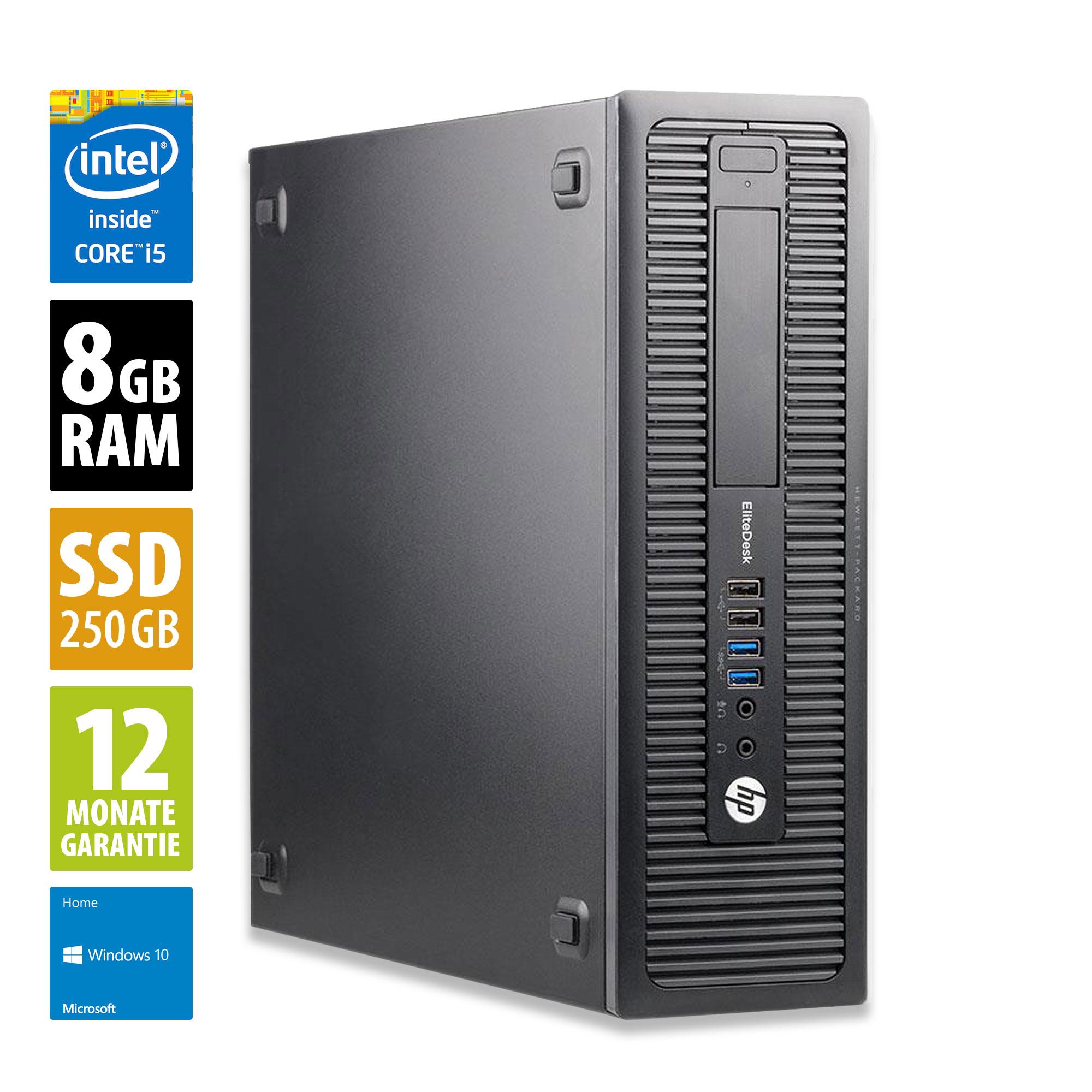 PC HP EliteDesk 800 G1 SFF - Core i5-4570 3,2 GHz, 8 Go de RAM, 250 Go SSD, Win10 (Reconditionné Grade A)