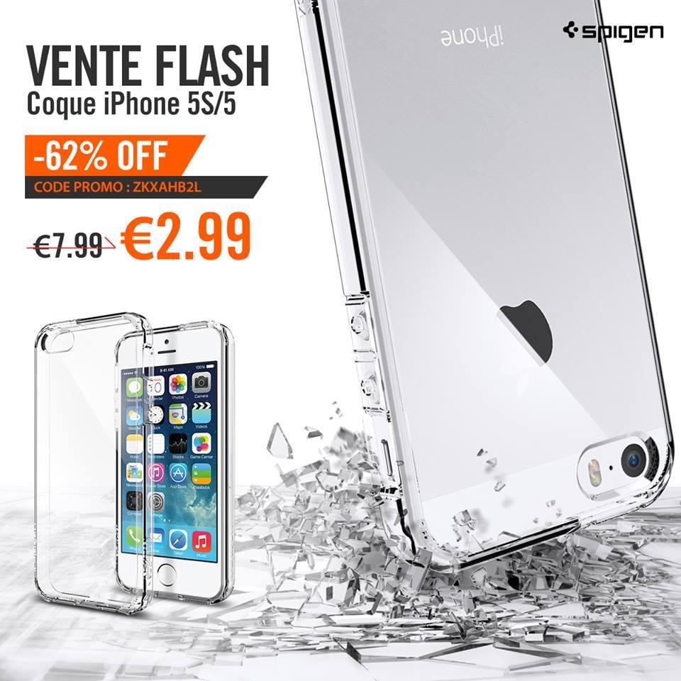 Coque Spigen pour iPhone 5/5S et Film Protection écran - Ultra Hybrid Crystal Clair