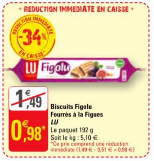 Paquet de Biscuits Lu Figolu - 192g