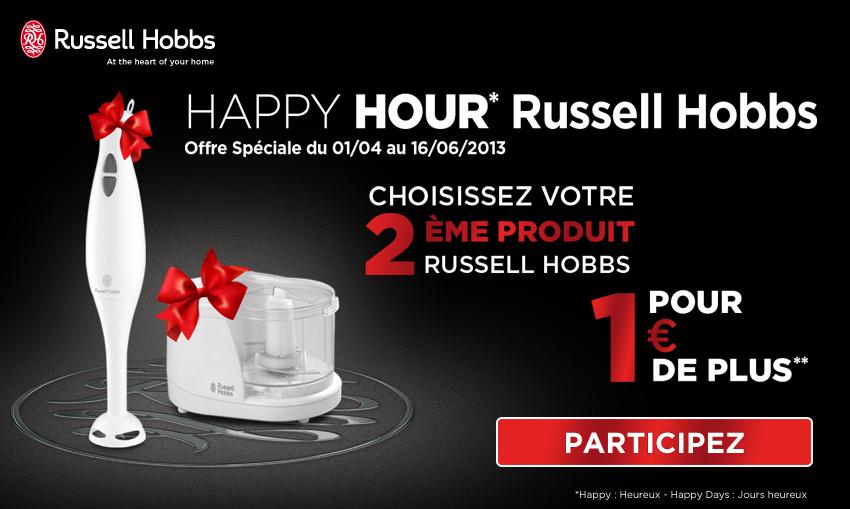 Pour l'achat d'un produit électroménager Russell Hobbs : Un mini-hachoir ou un mixeur plongeant Russell Hobbs
