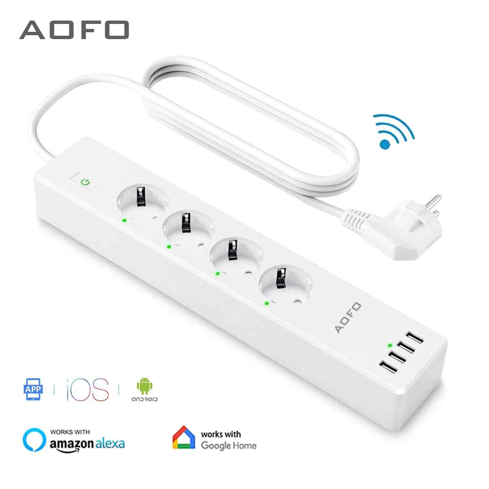 Multi-prises connectée Aofo - avec 4 prises (10A) + 4 ports USB (2.4A), compatible assistants vocaux