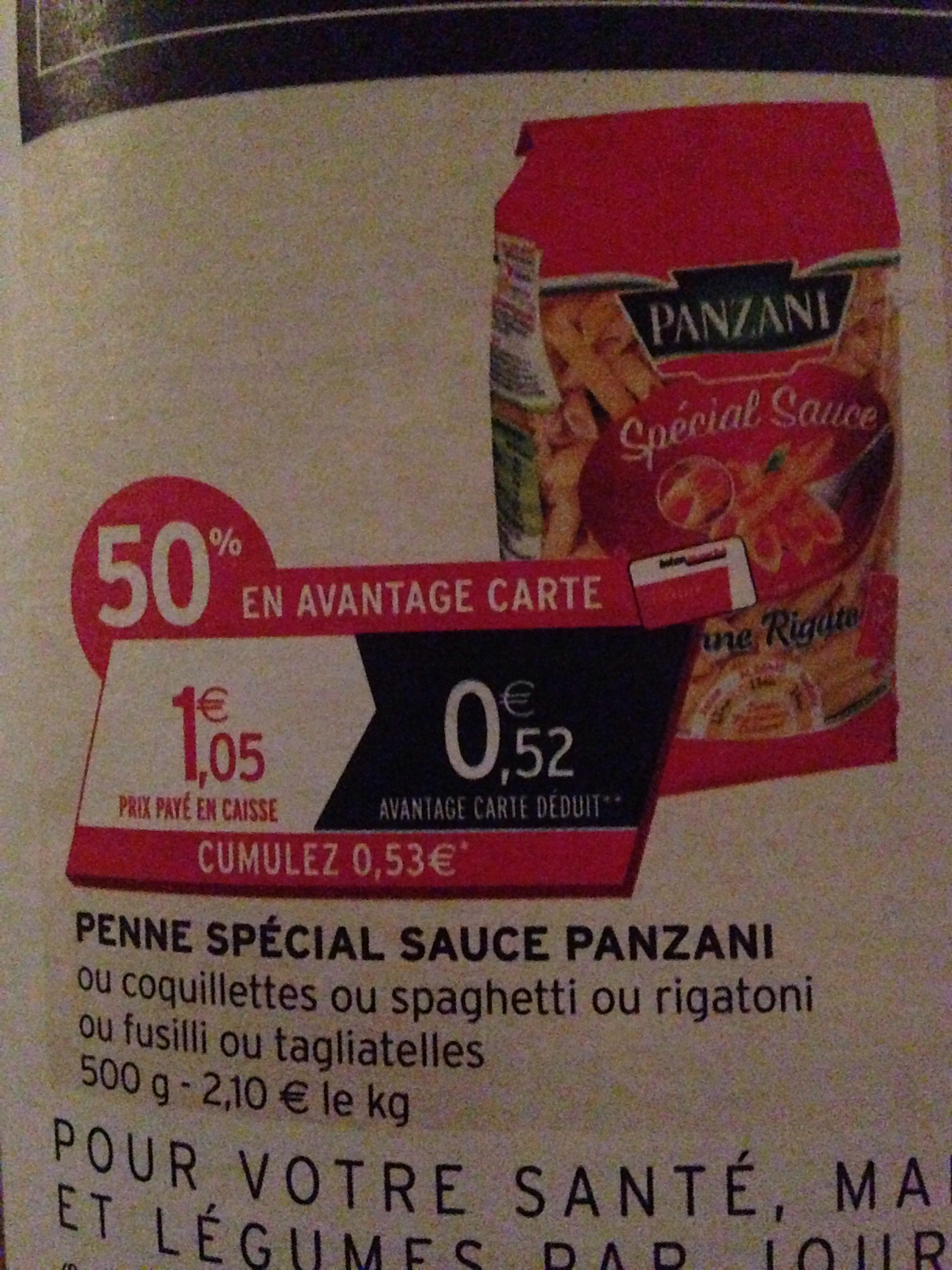 Paquet de Pâtes Panzani Penne Spécial Sauce 500g (50% en avantage carte + shopmium)