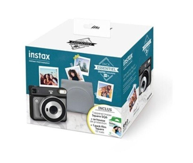Appareil photo argentique instantané Fujifilm Instax Square SQ6 Pack Essentiel (gris) - avec 10 films Square + housse de protection