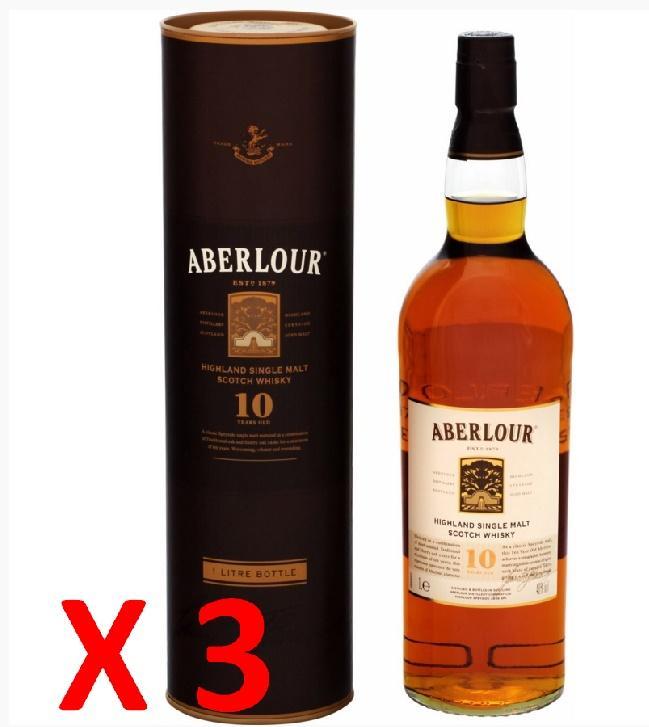 3 Bouteilles de Scotch Whisky Aberlour 10 ans d'âge (avec 50% sur la carte et 30€ en bon d'achat)