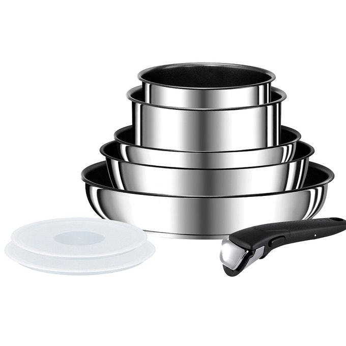Batterie de cuisine Seb Compact - 8 pièces, en inox non-revêtu