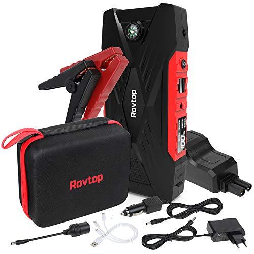 Booster de Batterie de Voiture Rovtop - 12V, 600A, 16500mAh, Fonctions Lampe et Batterie externe (Vendeur tiers)