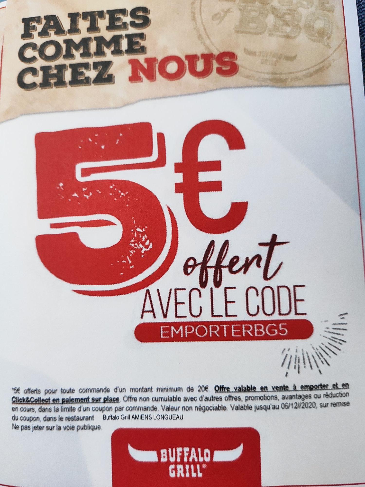 5€ de réduction dès 20€ de commande à emporter ou en Click&Collect - Longueau (80)