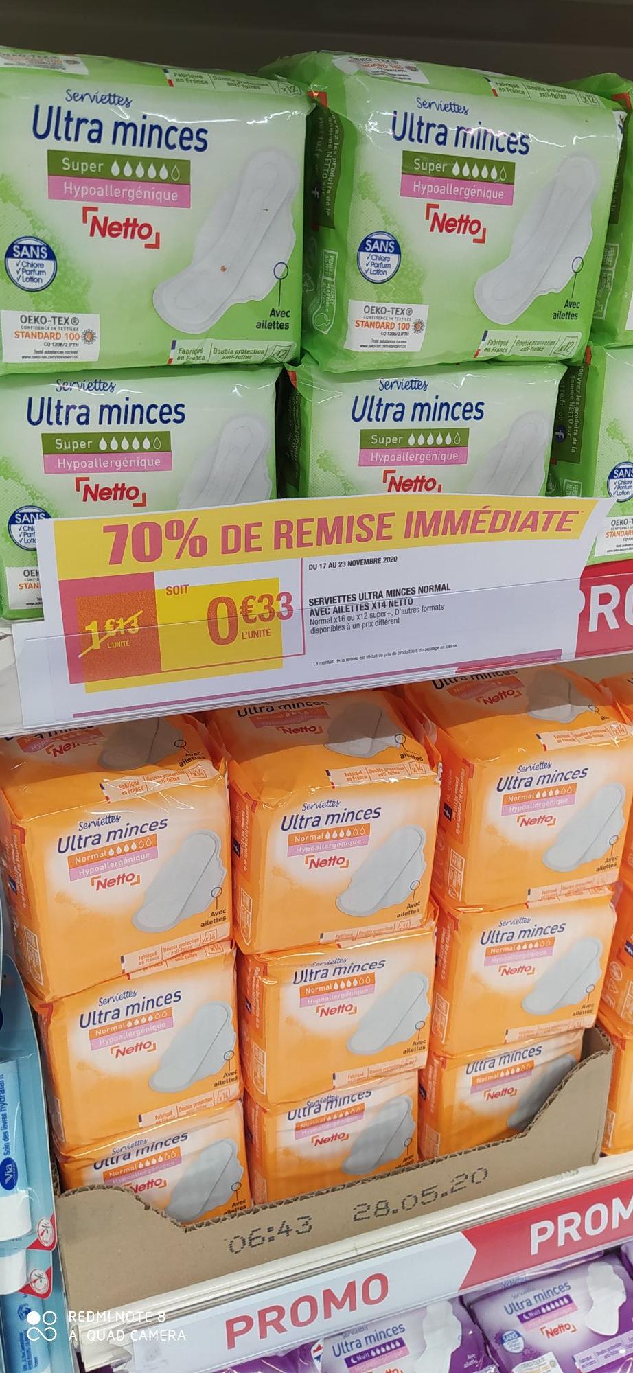 Paquet de 14 Serviettes hygiéniques Netto