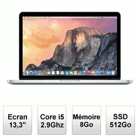 """PC Portable 13"""" Apple MacBook Pro 512Go SSD MF841F/A  (+172.4€ en bon d'achat)"""