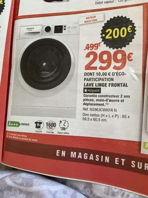 Lave-linge frontal Hotpoint NS963CWKFR N - moteur à induction, 9 kg, 1600 trs/min, A+++