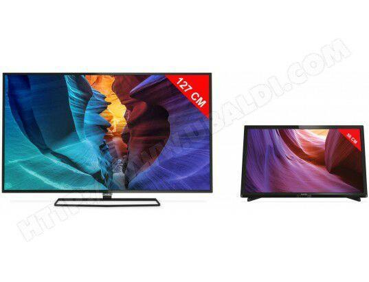 "TV 50"" Philips 50PUH6400/88 LED 4K + TV 22"" Philips 22PFH4000/88 LED Full HD"