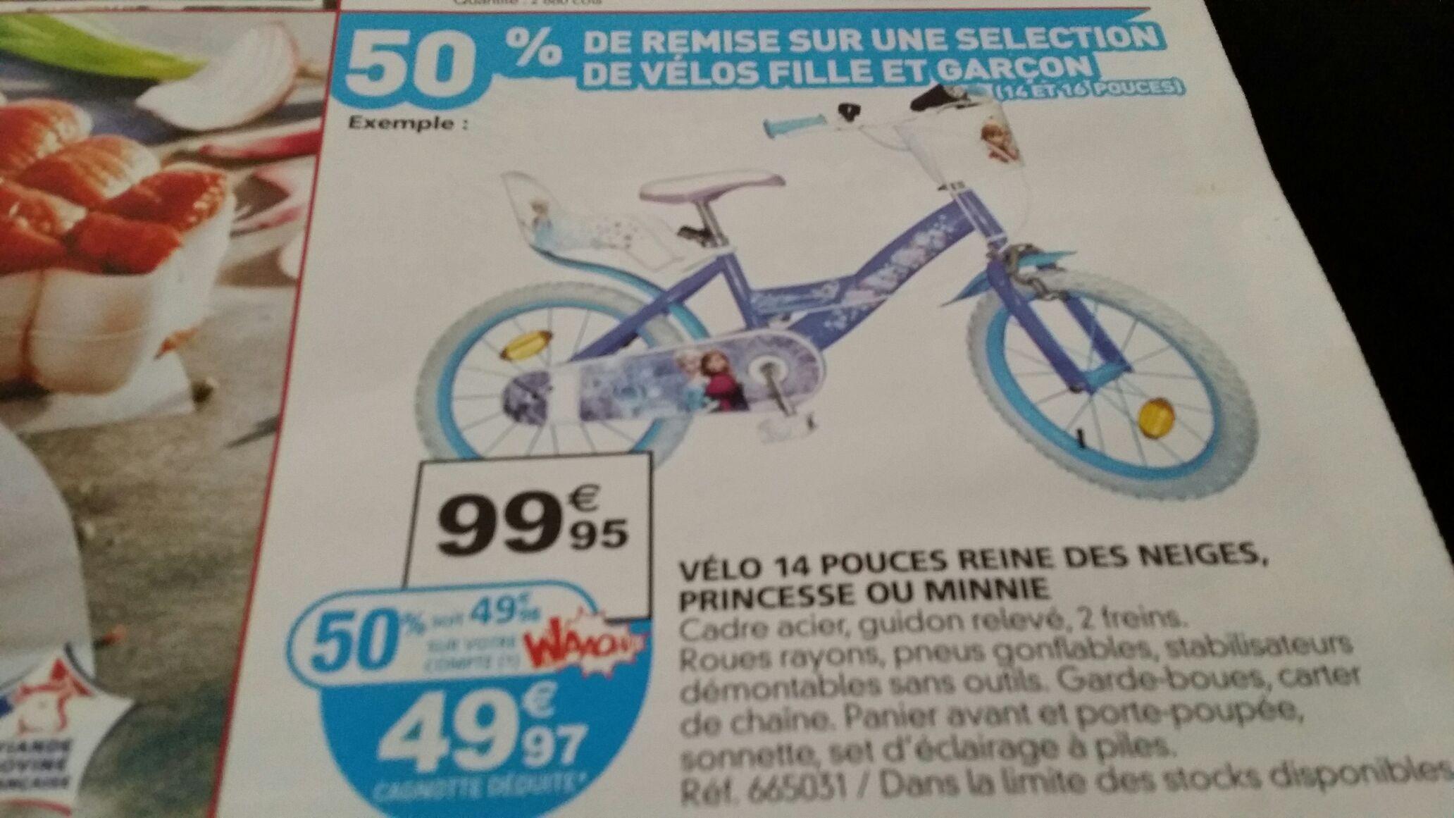 """Vélo reine des  neiges 14"""" (Avec 49.98€ sur la carte)"""