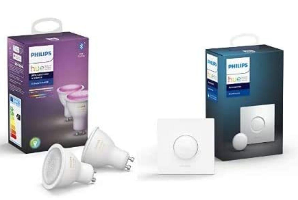 Pack de 2 Ampoules LED connectées Philips Hue White & Color Ambiance GU10 + Smart Button Bouton