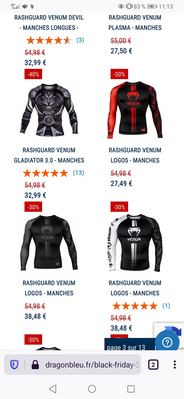 Sélection d'articles en promotion - Ex : tee-shirt à manches longues Rashguard Venum Devil
