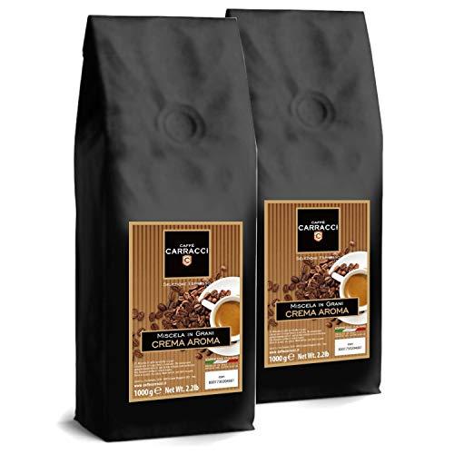 2 Paquets de Café Caffè Carracci en Grains Crema Aroma - 2 x 1 kg