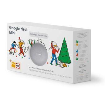 Coffret connecté de Noël : Google Nest Mini + 1 guirlande + 1 prise connectée + 6 mois de Deezer Premium