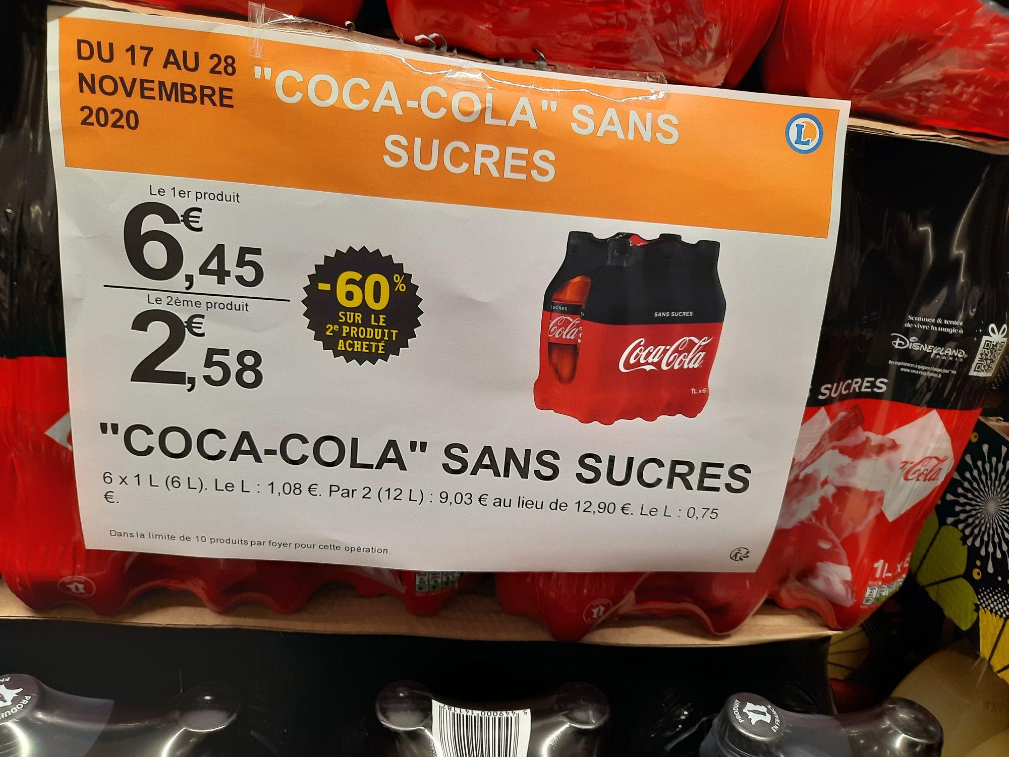 Lot de 2 pack de 6 bouteilles de Coca Cola Zéro (12 x 1L) - Leclerc Massy (91)