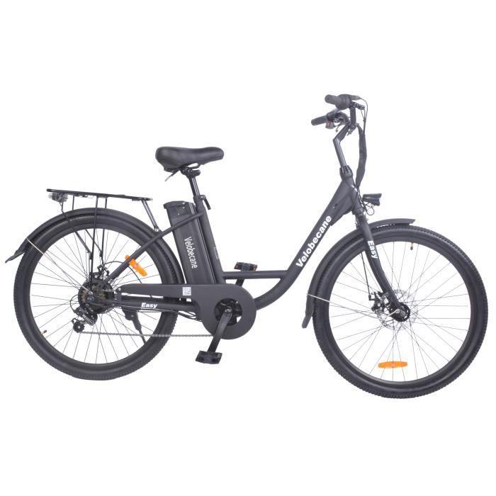"""Vélo électrique 26"""" VELOBECANE - 7 Vitesses, Freins à disque, Noir"""
