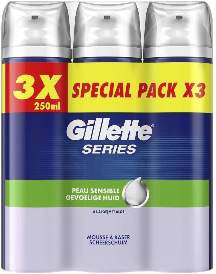Pack de 3 mousses à raser Gillette Series Peaux Sensibles - 3 x 250 ml