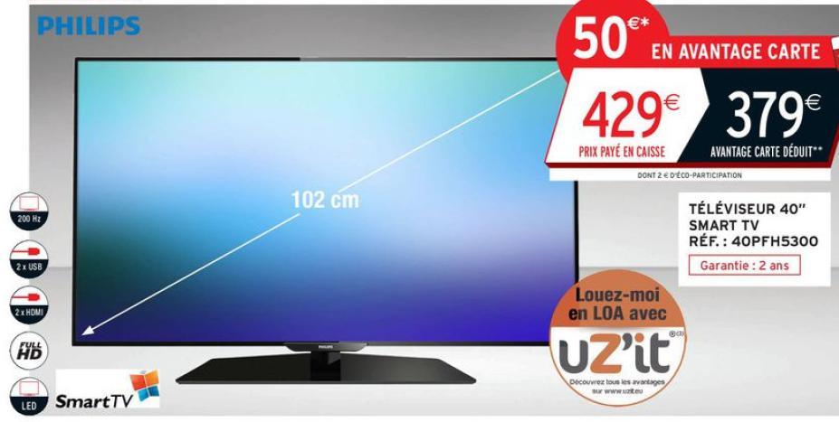 "TV 40"" Philips 40PFH5300 - Full HD, PMR 200Hz, Wifi, Internet"