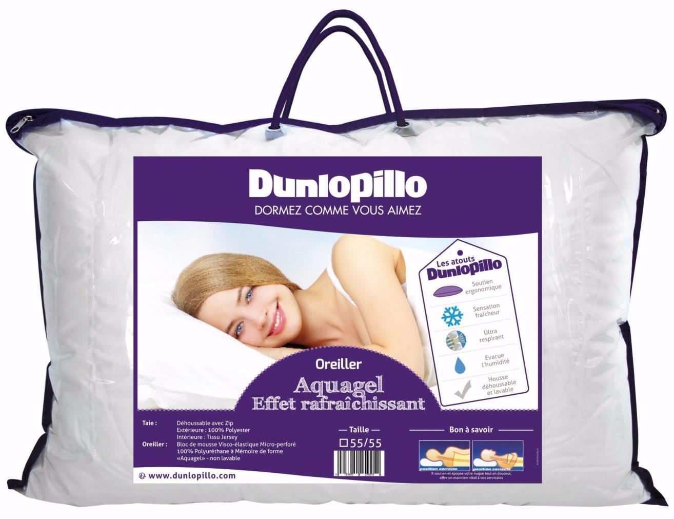 Oreiller à mémoire de forme Dunlopillo Aquagel (40x60 ou 55x55 cm)