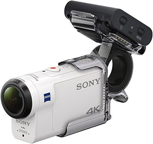 Caméra sportive Sony FDR-X3000R + AKA-FGP1 ultra-stabilisée/4K, Travel Kit, Blanc