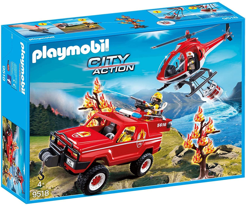 Jouet Playmobil City Action 9518: Hélicoptère et 4x4 de Pompiers