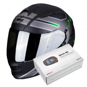 Sélection de casques moto en promotion - ex : Casque moto intégral Exo 510 Air Route Matt Black Green + Kit Bluetooth Sena SMH5 (Du S au L)
