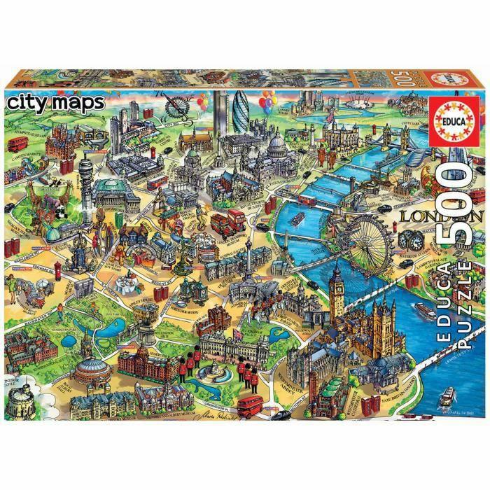 Puzzle Educa City Maps (18451) - Plan de Londres (500 pièces)