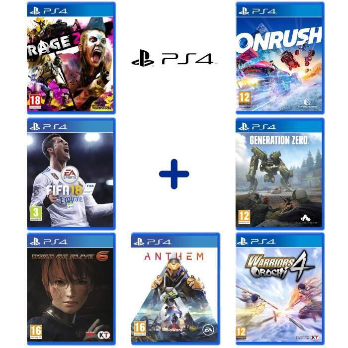 Lot de 7 jeux sur PS4: FIFA 18 + Génération Zero + ONRUSH + Rage 2 + Dead or Alive 6 + Warriors Orochi 4 + Anthem